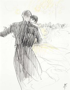 """Audrey Hepburn dancing with José Luis de Vilallonga and portrayed by René Gruau starting from a photo taken during a Gala at """"Le Moulin Rouge"""" in Paris (France), in December 1968. Audrey was wearing: Evening gown: Chanel (of pale yellow chiffon, fluid, of the haute couture collection for the Spring/Summer of 1968). Note: This illustration was made especially for the social column of the French magazine """"Femme Chic""""."""
