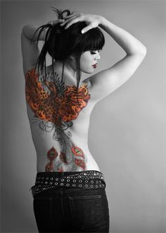 phoenix back tattoo-colorized large Totally love