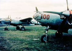 P-38 Lightning aircraft of the US 475th Fighter Group, South Pacific, 1944; note name 'Putt Putt Maru' on foreground fighter