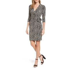 Women's Anne Klein Print Wrap Dress ($99) ❤ liked on Polyvore featuring dresses, slimming wrap dress, graphic dress, slimming dresses, anne klein and slim fit dress