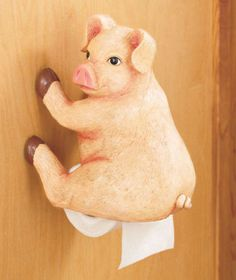 Get a laugh with a Woodland Booty Toilet Paper Holder. The paws or hooves of this humorous bath accent mount to the wall, and the roll of toilet tissue is posit Toilet Paper Dispenser, Toilet Paper Storage, Toilet Roll Holder, This Little Piggy, Little Pigs, Pot Belly Pigs, Piggly Wiggly, Pig Art, Cute Piggies