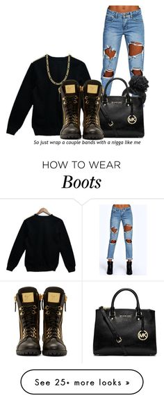 """Even my boots drip gold"" by kay-lene on Polyvore featuring Boohoo, Fremada, Michael Kors, Giuseppe Zanotti, gold, black, Sweater and sweaterweather"