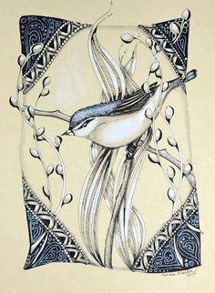 Zentangle Inspired Art on handmade paper. By Terrie Martin.