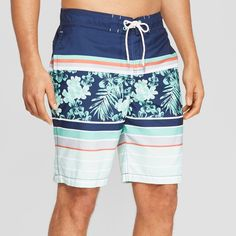 27a7a3c921 Refresh your swimwear with these Striped Swim Trunks from Goodfellow and Co.  Hitting just above