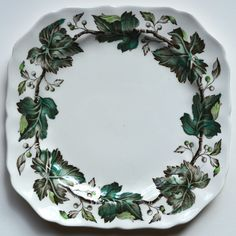 Vintage Brown & White Transferware Hand Painted Green Ivy Square Plate