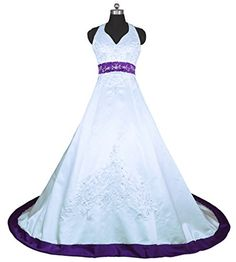 RohmBridal Embroidery Satin Halter Wedding Dress Bridal Gown White Purple 18 ** Click on the image for additional details.