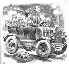 In the ubiquitous MAD artist/cartoonist/illustrator/caricaturist (and master of crowd scenes), and EC comics legend Jack Davis . My Mother The Car, Jack Davis, Ec Comics, Cross Hatching, Vintage Comic Books, Tv Guide, Caricature, Illustrators, Illustration Art