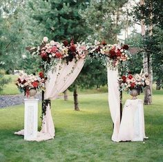 30 Best Floral Wedding Altars & Arches Decorating Ideas gorgeous marsala,burgundy and pink floral outdoor wedding arch ideas Wedding Arch Rustic, Wedding Altars, Wedding Ceremony Backdrop, Rustic Weddings, Wedding Arches, Wedding Pergola, Wedding Backyard, Wedding Reception, Wedding Backdrops