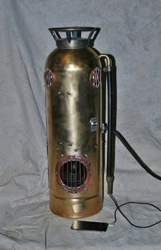 Soundmachine #2. Antique fire extinguisher with amp. and speakers for any mp3.