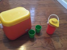 Vintage 1985 Little Tikes Carry A Long Cooler Set. Drink Dispenser Cups . VHTF. #LittleTikes
