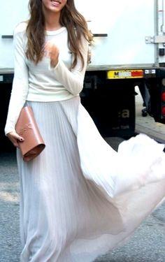 white sweater, long white skirt <3