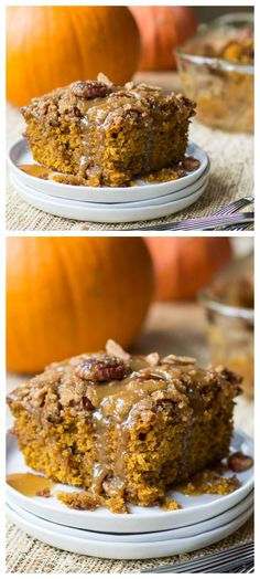 Pumpkin Coffee Cake with Brown Sugar Glaze | pumpkin desserts, sweets, recipes @FMSCLiving