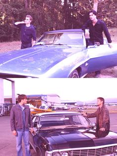 Salvatore's and Winchester's 1967 Chevy Camaro and 1967 Chevy Impala. I think they so did this on purpose!