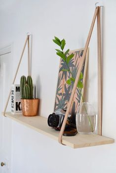 Best DIY Room Decor Ideas for Teens and Teenagers - DIY Easy Leather Strap Hanging Shelf - Best Cool Crafts, Bedroom Accessories, Lighting, Wall Art, Creative Arts and Crafts Projects, Rugs, Pillows,  (Cool Bedrooms For Teenagers)