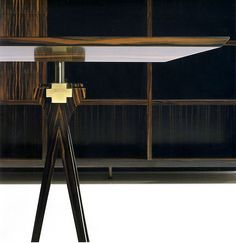 SC3003/E MACASSAR EBONY DESK - Macassar desk available with two drawer sets or optional trellis legs as pictured.