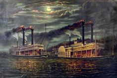 Steamboats in the Mississipi river.