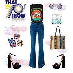 That 70's show: band tee by almafainer on Polyvore featuring moda, STELLA McCARTNEY, Boohoo, Topshop, bandtshirt and bandtee