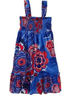 Aleena's dress for the 4th and she can wear it again:) Girls Smocked Floral-Print Sundresses | Old Navy