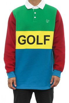 Golfwang Golf Rugby Shirt Green/white   Culture Kings Online Store