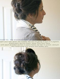 Hair How To (towards the bottom of the post) 2 side braids braided back and tied in a know and pinned.