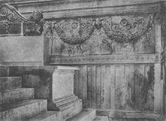 Ricostruzione delle decorazioni dell'interno dell'Ara Pacis.