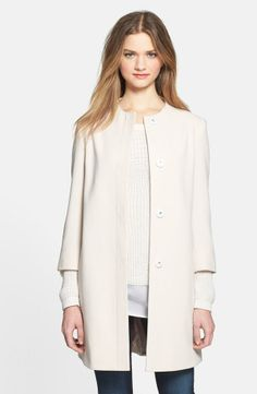 Collarless Topper Jacket in Ivory.