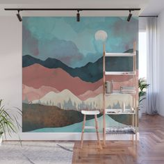 This painting is an example of implied light in a room because it makes it feel cool and darkens the room. Bedroom Murals, Bedroom Wall, Bedroom Decor, Wall Decor, Wall Design, House Design, Mural Art, Painting Murals On Walls, Tree Wall Murals