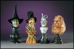 Set of 4 1:12th miniature scale Wizard of Oz Busts  Creager Studio