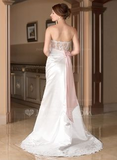 A-Line/Princess Sweetheart Court Train Satin Tulle Wedding Dress With Ruffle Lace Sash Beading Bow(s) (002012934)
