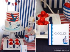 Nautical Party Kids Birthday Party Boy Blue Red Boat