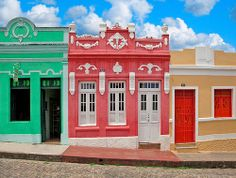 Mini homes in Brazil. The street in Olinda, Brazil, vibrant colours.