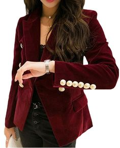 WSPLYSPJY Womens Velvet Slim Fit Sexy Buttons Office Coat Blazer at Amazon Women's Clothing store: