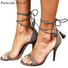 Parkside Wind Trendy Fringe Nude Suede Heels
