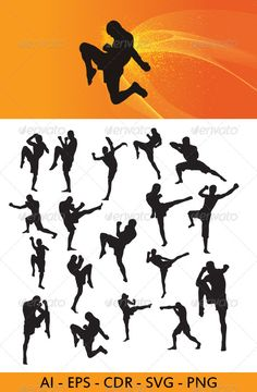 Muay Thai Martial Art Silhouettes #GraphicRiver This is nice Muay Thai Martial Art silhouettes. In this files include AI and EPS versions. You can open it with Adobe Illustrator CS and other vector supporting applications. I hope you like my design, thanks This files consists of : AI ( adobe illustrator ), EPS , PNG ( transparent ) , SVG ( inkscape – free vector software ) , CDR ( corel draw ) visit my silhouettes collection graphicriver /collections/3119286-silhouettes Created: 13April13…