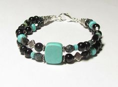 Jet Black Turquoise double strand bracelet by WorldOfSquirrelCraft, $25.00