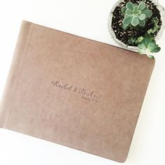 RedTree Album, 9x12 luxe leather, chai, custom debossing | Photo by Alee Gleiberman Photography