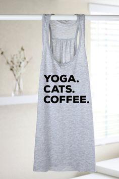 Yoga Cats Coffee Womens Yoga Tank Top Yoga Top by ArimaDesigns