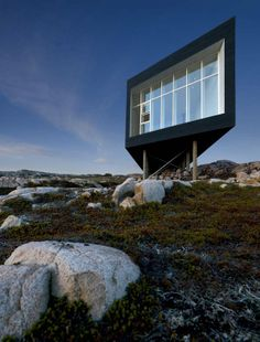 Studio created by Saunders Architecture, located on Fogo Island near Newfoundland, Canada.  https://www.google.ca/maps/preview#!q=Fogo+Island&data=!4m15!2m14!1m13!1s0x4b77d5df67a804bb%3A0x496d636b523e0805!3m8!1m3!1d6529306!2d-52.7785876!3d50.0139114!3m2!1i1920!2i955!4f13.1!4m2!3d49.6382607!4d-54.1854423