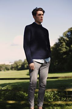 We found the blue knit jumpers to be popular. This is a nice use of grey chinos and an untucked shirt.