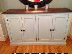 Superieur White Sideboard Buffet Cabinet Diy Wood Top Country Pretty Doors Pretty  Nice Two Tone ANA