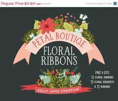 Floral Ribbons & Bouquets - Petal Boutique Clip Art Set - Blog Graphics - Instant Download https://www.etsy.com/listing/196845702