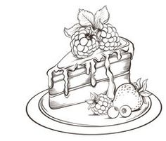 Imágenes similares, fotos y vectores de stock sobre Hand drawn slice of Cake with icing and Berry. Flower Art Drawing, Cake Drawing, Food Drawing, Colouring Pages, Adult Coloring Pages, Coloring Books, Cake Sketch, 30 Day Art Challenge, Easy Disney Drawings