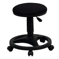 Flash Furniture Black Ergonomic Stool with Foot Ring Office Stool, Desk Stool, Office Chairs, Rolling Chair, Farmhouse Dining Chairs, Adjustable Stool, Bedroom Seating, Industrial Chair