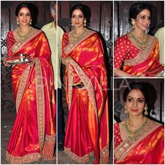 For Karva Chauth celebrations last night, Sridevi wore a traditional silk saree with an embellished border by Sabyasachi. Gold jewellery, a gold clutch and a soft bun rounded her look out. Like her festive look? Beautiful Saree, Beautiful Outfits, Indian Dresses, Indian Outfits, Banaras Sarees, Silk Sarees, Bridesmaid Saree, Traditional Silk Saree, Saree Look