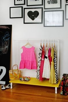 An affordable kids clothes rack DIY by Smile and Wave for ABM. #tutorial #kids #clothes #rack