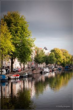 Boats along the canal, Amsterdam, The Netherlands