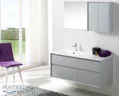 Mueble de Baño Tebas VI con 4 cajones. Acabado en Lacado Perla (más acabados disponibles)
