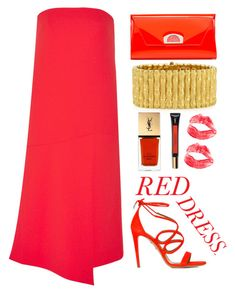 """Red dress"" by simona-altobelli ❤ liked on Polyvore featuring TIBI, Aquazzura, Christian Louboutin, Robert Coin, Yves Saint Laurent, women's clothing, women, female, woman and misses"