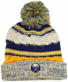 NHL Buffalo Sabres Women's CCM Cuffed Knit Hat With Pom, One Size , Blue/Yellow/Off-White adidas. Save 42 Off!. $10.35