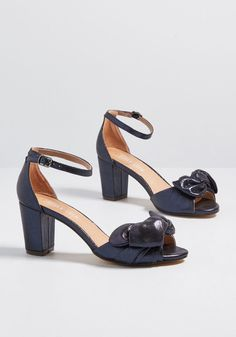 2c04c2128a8b One More Shine Peep Toe Heel in 39 by Chelsea Crew from ModCloth Navy Blue  Heels